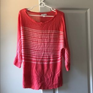 Medium Coral with white stripes 3/4 sleeve sweater